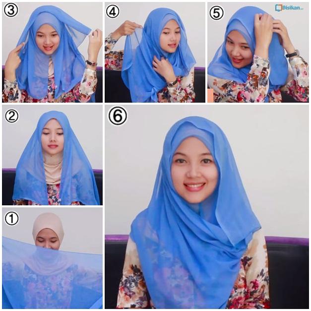 Inilah Dia Tutorial Hijab Paris Segiempat Simple #7