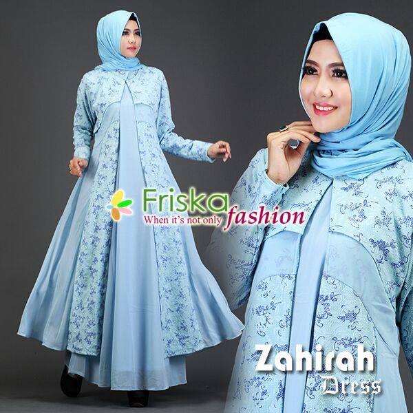 Zahirah Dress Blue Light Butik Keisha